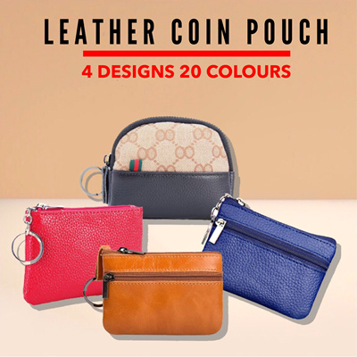 Genuine Leather Coin Pouch Mini Purse Card Wallet with Key Ring and Zipper Yellow