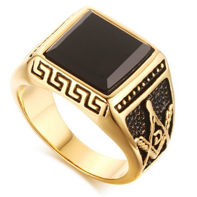 vintage Gold Plated Men Masonic Rings With Black Stone Stainless Steel  Wedding Bands For Men Freemas