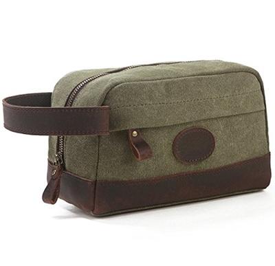 0bb890feac Qoo10 - Vintage Leather Trim Canvas Toiletry Bag Shaving Dopp Kit Makeup Bag  B...   Bag   Wallet