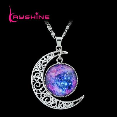 Vintage Necklace Antique Silver Color Blue Purple Earth Moon Space Skyrim  necklaces & pendants