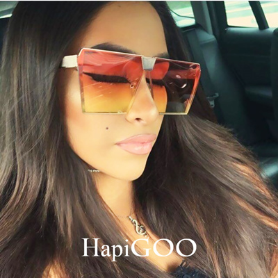 cc0d6e0b61 Qoo10 - Vintage Oversized Square Rimless Sunglasses Women Men Mirror Flat  top ...   Fashion Accessor.