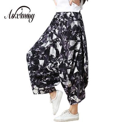 3cfceef591186 Vintage Plus Size Print Casual Wide Leg Harem Pants Women 2018 New Casual  Cotton Linen Elastic