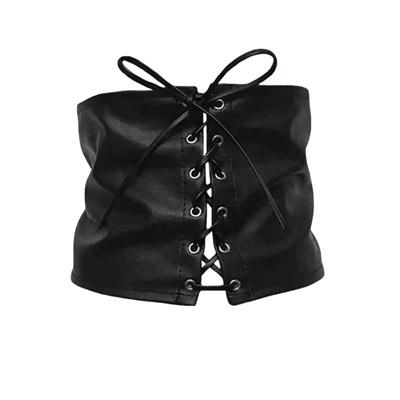 181b2e7dedf Qoo10 - Vintage Women Leather Corset Lace Up Bandage Waist Belt Strap Shape-Ma...    Women s Clothing