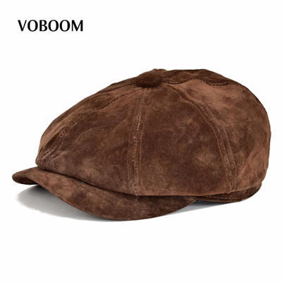 bf2cc5a5d8e8a Qoo10 - VOBOOM Genuine Suede Leather Newsboy Cap Men Women Frosted Real  Pigski...   Fashion Accessor.