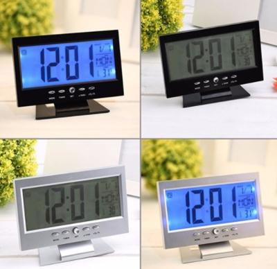 Qoo10 - Voice Control Back-light LCD Alarm Clock Weather
