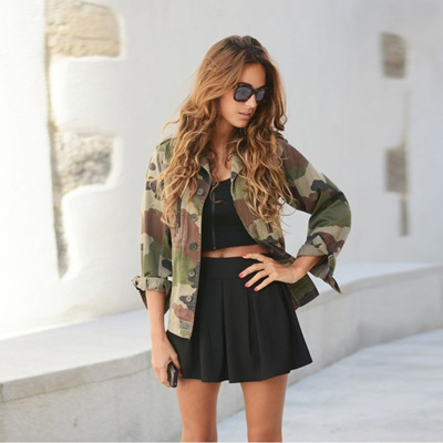 0911cce32 Vovotradehot Women Vintage Military Camo Classic Padded Bomber Jacket  Camouflage Coat Outwear