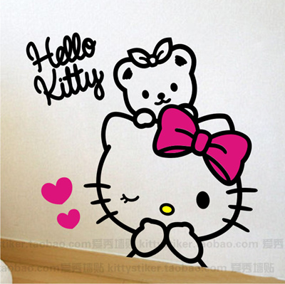 qoo10 - wall sticker paper dorm background bow hello kitty face kt