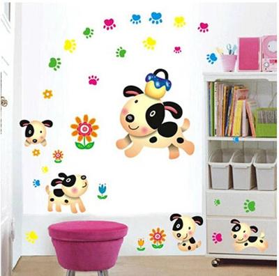 Wall stickers free stickers cute childrens room bedroom stickers removable  wall stickers nursery arrangement puppy footprints
