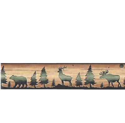 Qoo10 Wallpaper Border David Carter Brown Lodge Bear Deer Elk