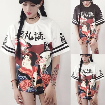 Wanita Genki Gadis Jepang Gaya Jalan Lengan Tebal Lemah T-shirt Siswa  Remaja Harajuku Let f9c659bbab
