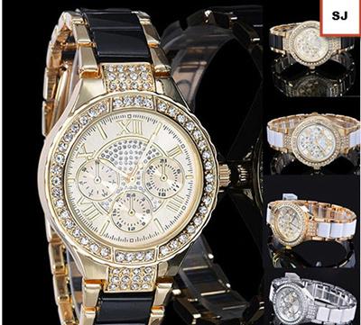 Wanita mode angka romawi berlian imitasi paduan Analog jam tangan Female  models alloy rhinestone roman numeral e02ed926d5