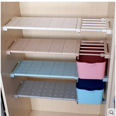Wardrobe Storage Shelf Cabinet Layered Parion Board Nail Free Telescopic Rack