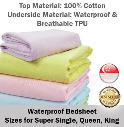 Waterproof Bedsheet Super Single Queen King Size Mattress Protector Baby  Elderly