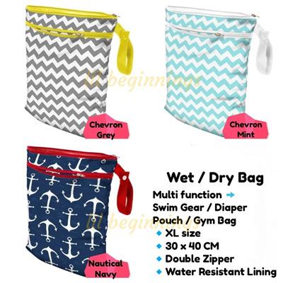 Waterproof Double Zip Swim Bag Gym Wet Diaper Pouch Organizer Lsize 40x30cm