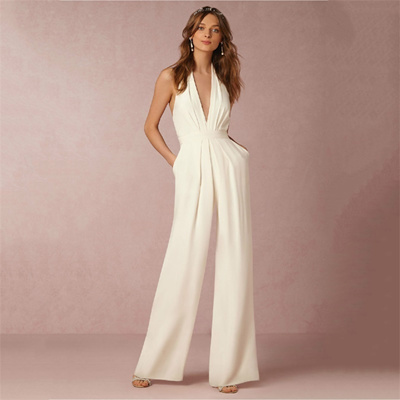 Wedding Pant Suits.Wayin Deep V Neck Bridal Pant Suit Backless Wedding Jumpsuit Dresses