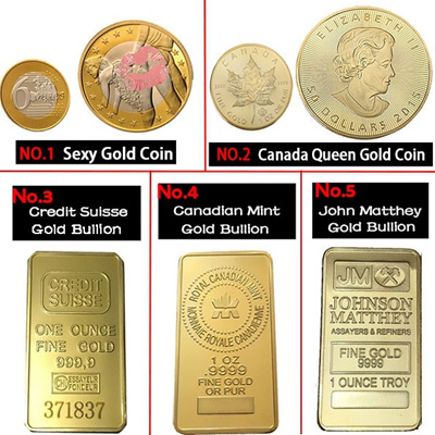 [WE] 5 Styles Goldplated Gold Bullion Gold bar & Goldplated Gold Coins with  Clear Capsule Collectib