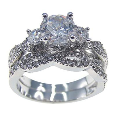 Qoo10 Wedding Band Anniversary Engagement Ring Bridal Set Cubic