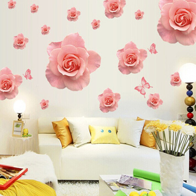 Qoo10 - Wedding room decorations pink rose wall stickers bedside ...