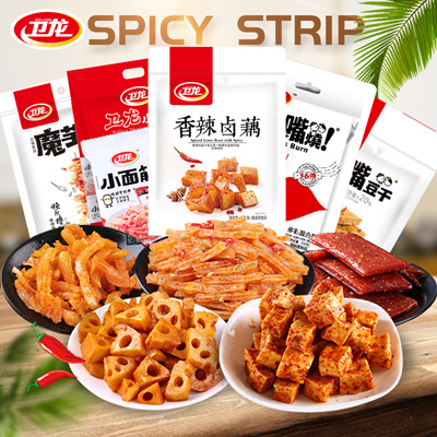 Wei Long Hot Sweet And Spicy Strip Snack Snacks La Tiao Spicy Tofu Tofu  Cooked Gluten Chinese Food