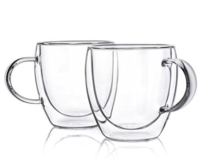 Wenida Clear Insulated Coffee Mug 7 8 Qunce Double Wall Gl Latte Tea Cups Set