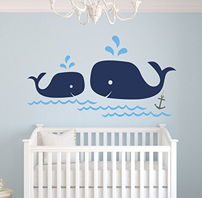 Whale Family Nautical Mom And Baby Wall Decal Nursery Decals Decor