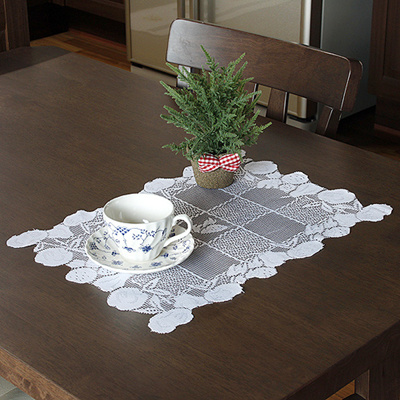 White Apple Pattern Cotton Braided Woven Table Runner Desk Pads Lace Runner