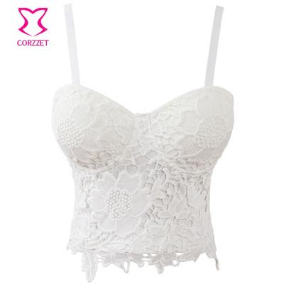 226e97ead1eba Qoo10 - White Floral Lace Bralette Bustier Crop Top Soutien Gorge Push Up  Bra ...   Underwear   Sock.