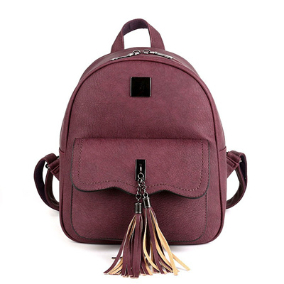 wholesale COOL WALKER Solid Color New Tassel Women Backpacks Fashion PU  Leather Lady Backpack Fashi