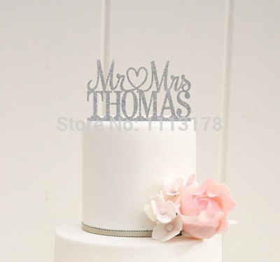 Wholesale Glitter Wedding Cake Topper Mr And Mrs Topper Design With Your Last Name Picks Birthday Br