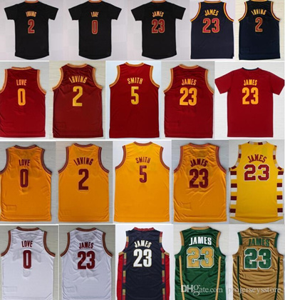 release date 0e133 323a7 Wholesale James Jersey 0 Kevin Love 2 Kyrie Irving Shirt Uniforms 5 Jr  Smith Black Navy Blue White R