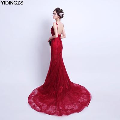 wholesale YIDINGZS Robe De Soiree Mermaid Wine Red Evening Dress Straps  Party Elegant Vestido De Fes 6fe030ce54ef