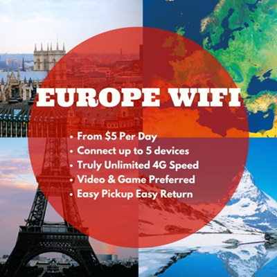 WiFi【Europe WiFi Service 1-30 Days】Cheaper and Connivence than Europe SIM  Card Truly Unlimited 4G Data