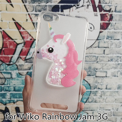 wiko rainbow jam 3g unicorn cover dynamic quicksand phone cases glitter  liquid silicon shell luxury