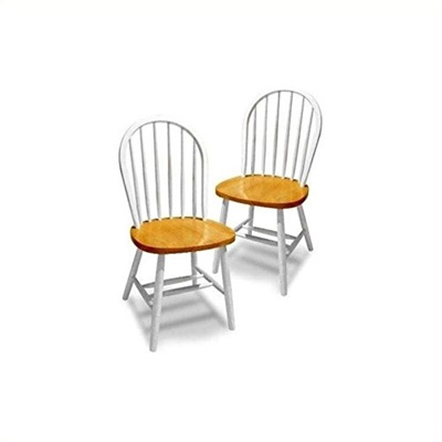 Winsome Wood Windsor Chair In Natural And White Finish Set Of 2 53999