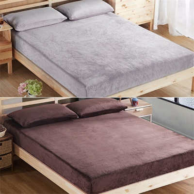 Winter Bedding Solid Color Flannl Bed Sheets Fitted Bed Sheet Elastic  Mattress Cover Bedspread