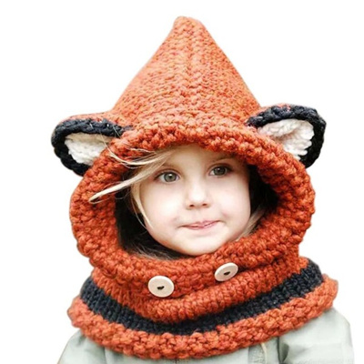 Qoo10 - Winter fashion design Wool Knitted Fox Hats Baby Girls Shawls Hooded  C...   Baby   Maternity c380c98a6f1a