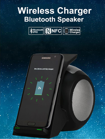 Wireless Charging Phone Holder With NFC Subwoofer for iPhone 5 6 7 Plus Qi  Charger 4 0 Speaker