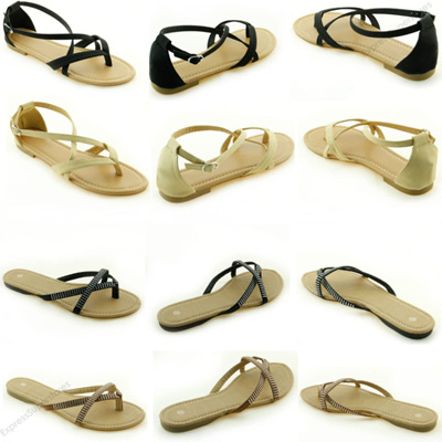 044d19ead7bd Women  s Sandals New Gladiator Flat T-Strap Thong Style Flip Flops Shoes Toe