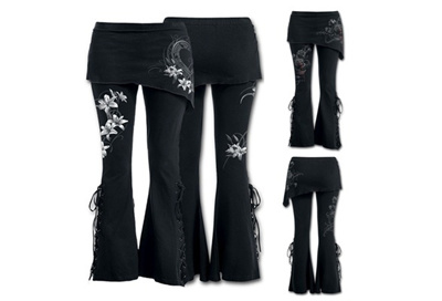 acb791915a516 Women 2 in 1 Boot Cut Leggings with Micro Slant Skirt Gothic Punk Lace Up  Bell