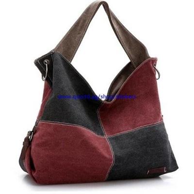 54d8edf48857 Qoo10 - Women Canvas Plaid Handbags Contrast Color Large Capciry Crossbody  Bag...   Watch   Jewelry