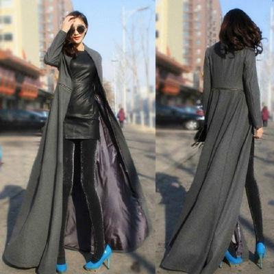 e8371d01a Qoo10 - Women Fashion Maxi Long Woolen Coat Slim Winter Jacket Floor ...