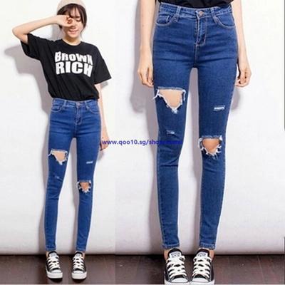 93f75fddbdc Women High Waist Skinny Jeans Holes Denim Ripped Boyfriend Jeans Pencil  Pants