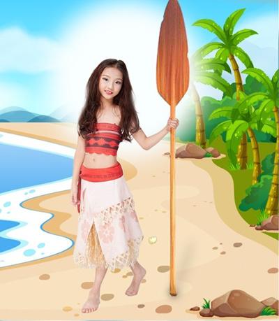 Women Kids Movie Moana Princess Dress Cosplay Costume Vaiana Skirt