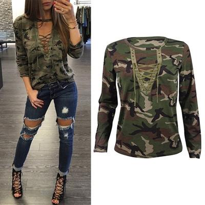 c71e9610ba9 Qoo10 - Women Lace Up T-Shirt V-neck Long Sleeve Camouflage Tops ...
