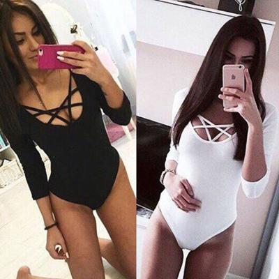 129d563476 Women Long Sleeve Bodysuit Stretch Ladies Leotard Body Tops Tshirt Jumpsuit