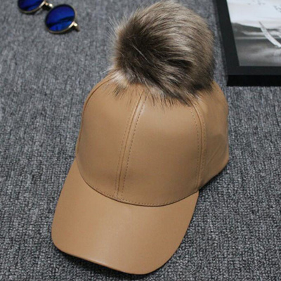0e620b3ed3c Qoo10 - Women Men Unisex PU Leather Ball Suede Adjustable Baseball Cap Real  Fu...   Fashion Accessor.