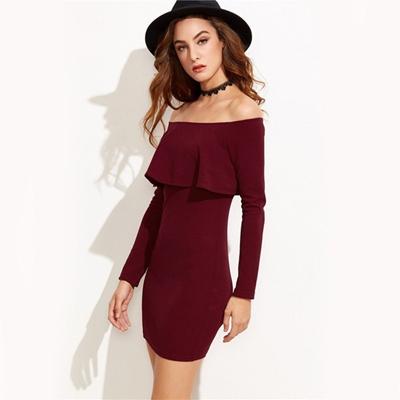 4c889cdf1685 Qoo10 - Women Off The Shoulder Sexy Tight Short Dress Long Sleeves    Women s Clothing