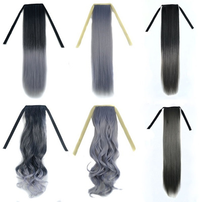 Women Ombre Grey Long Straight Curly Ponytail Hair Extensions Synthetic Wig  Hairpiece Hairstyle 1e6a44f98