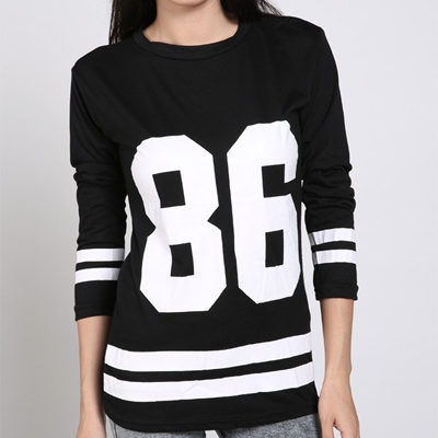 f41bbaee Women Oversized 86 Print Baseball T-shirt long Sleeve Top College Loose  Dress