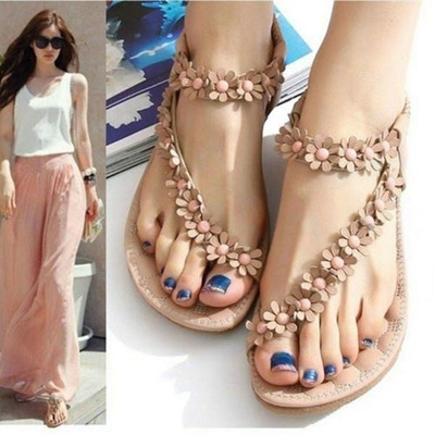 b555680108b6e Qoo10 - Women Pretty Floral Thong Boho Shoes Beach Sandals Flip Flop Flat  Slip...   Women s Clothing